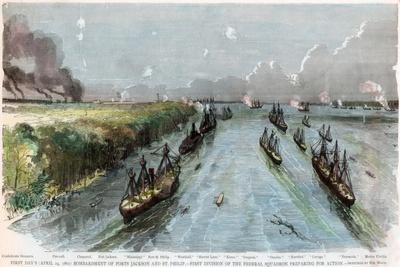 Bombardment of Forts Jackson and St Philip, Louisiana, American Civil War, April 1862
