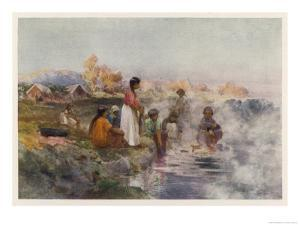 Maori Women Washing Laundry in the Hot Spring at Ohinemutu New Zealand by W. Wright