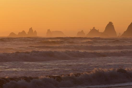 Wa, Olympic National Park, Sea Stacks at Sunset, Rialto Beach-Jamie And Judy Wild-Photographic Print