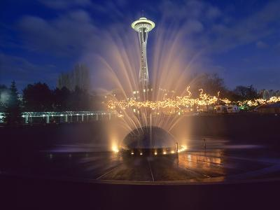 Wa, Seattle, International Fountain with Holiday Lights and the Space Needle-Jamie And Judy Wild-Photographic Print