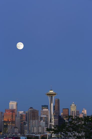 Wa, Seattle, Skyline View from Kerry Park, with Full Moon-Jamie And Judy Wild-Photographic Print