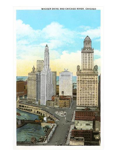 Wacker Drive, Chicago, Illinois--Art Print