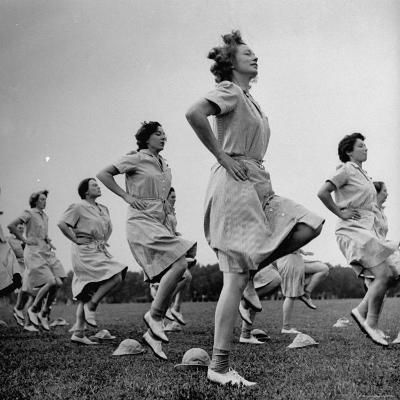 WACs Doing Daily Calisthenics Exercises-Marie Hansen-Photographic Print