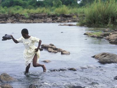 Wading Across Zambezi River, Victoria Falls, Mosi-Oa-Tunya National Park, Zambia-Paul Souders-Photographic Print