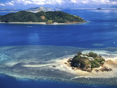 Wading Island and Castaway Island, Fiji-David Wall-Photographic Print