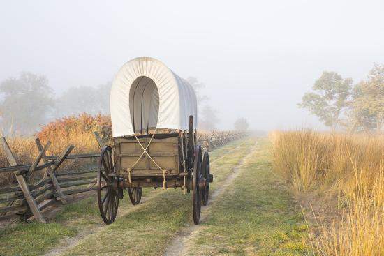 Wagon along the Oregon Trail at Whitman Mission, Walla Walla, Washington State-Brent Bergherm-Premium Photographic Print