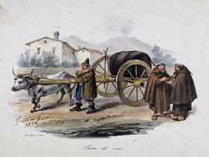 Wagon Carrying Wine Barrel, 1839, by Gaetano Dura (1805-1878), Lithograph, Italy, 19th Century