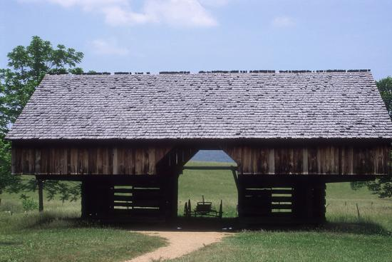 Wagon in a Cantilevered Barn, Cades Cove, Great Smoky Mountains National Park, Tennessee--Photographic Print