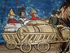 Wagon Laden with Supplies and Barrels of Wine