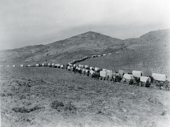 Wagon Train - Oregon Trail Wagon Train Reenactment, 1935-Ashael Curtis-Premium Giclee Print