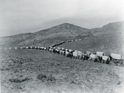 Wagon Train - Oregon Trail Wagon Train Reenactment, 1935-Ashael Curtis-Giclee Print