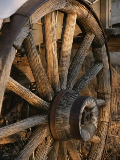 Wagon Wheel on Covered Wagon at Bar 10 Ranch Near Grand Canyon-Todd Gipstein-Photographic Print