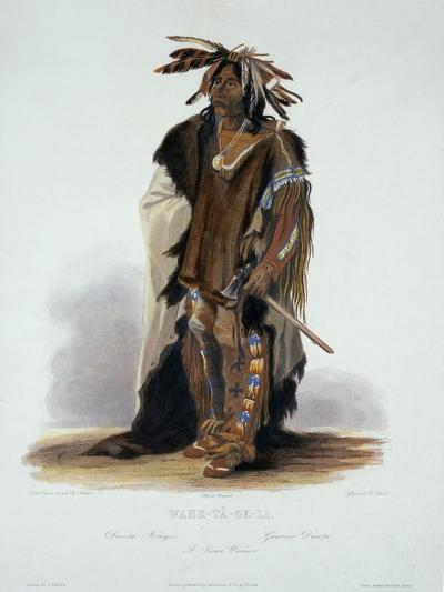 "Wahk-Ta-Ge-Li, a Sioux Warrior, Plate 8 from Volume 2 of ""Travels in the Interior of North America""-Karl Bodmer-Giclee Print"