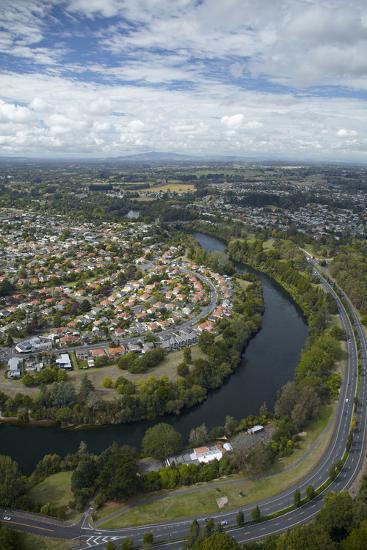 Waikato River and Cobham Drive, Hamilton, Waikato, North Island, New Zealand, Aerial-David Wall-Photographic Print