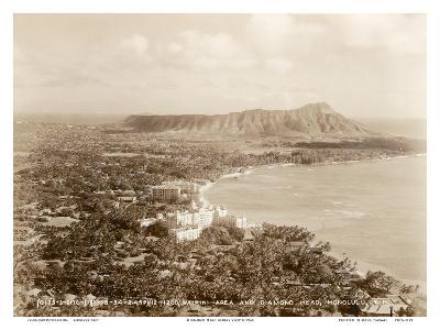 Waikiki Area and Diamond Head Crater - Honolulu, T.H. Territory of Hawaii--Art Print