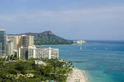 Waikiki Beach and Diamond Head, Waikiki, Honolulu, Oahu, Hawaii, United States of America, Pacific-Michael DeFreitas-Photographic Print
