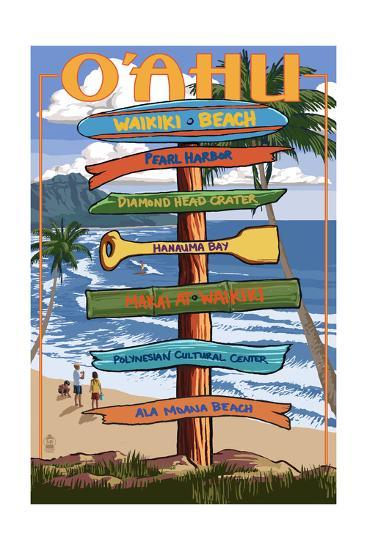 Waikiki Beach, Hawaii - Signpost Destinations-Lantern Press-Art Print