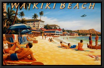 Waikiki Beach-Kerne Erickson-Framed Canvas Print