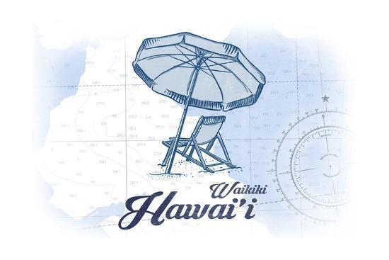 Waikiki, Hawaii - Beach Chair and Umbrella - Blue - Coastal Icon-Lantern Press-Art Print
