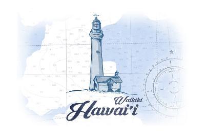 Waikiki, Hawaii - Lighthouse - Blue - Coastal Icon-Lantern Press-Art Print