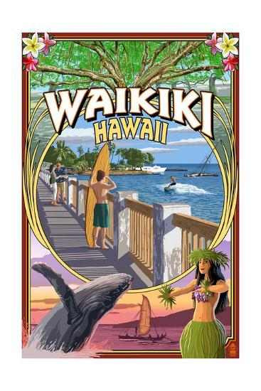 Waikiki, Hawaii - Town Scenes Montage-Lantern Press-Art Print