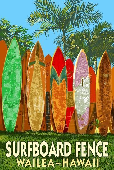 Wailea, Hawaii - Surfboard Fence-Lantern Press-Art Print