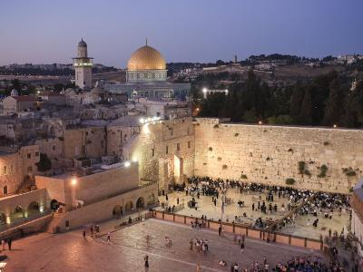 Wailing Wall, Western Wall and Dome of the Rock Mosque, Jerusalem, Israel-Michele Falzone-Photographic Print