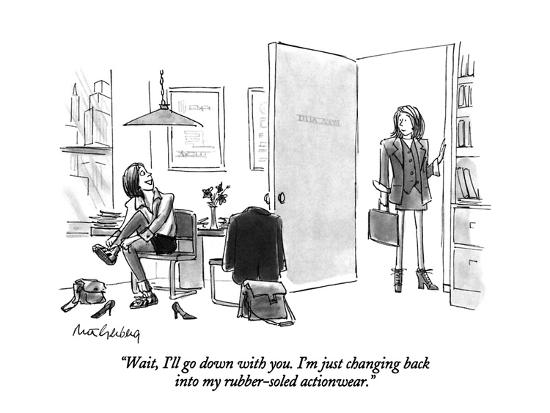 """Wait, I'll go down with you. I'm just changing back into my rubber-soled ?"" - New Yorker Cartoon-Mort Gerberg-Premium Giclee Print"