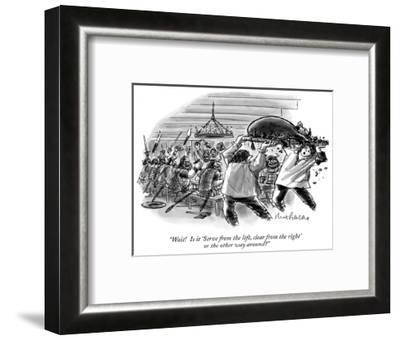 """""""Wait!  Is it 'Serve from the left, clear from the right' or the other way…"""" - New Yorker Cartoon-Mort Gerberg-Framed Premium Giclee Print"""