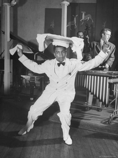 Waiter Dancing with a Tray on His Head-Wallace Kirkland-Photographic Print