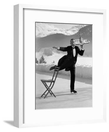 Waiter Rene Brequet with Tray of Cocktails as He Skates Around Serving Patrons at the Grand Hotel-Alfred Eisenstaedt-Framed Premium Photographic Print