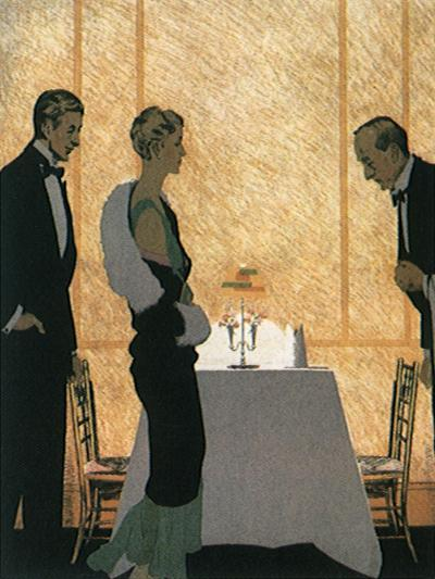 Waiter Seats Couple--Giclee Print