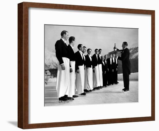 Waiters in Ice Skates Learning How to Serve Cocktails During Lesson at Grand Hotel Ice Rink-Alfred Eisenstaedt-Framed Premium Photographic Print