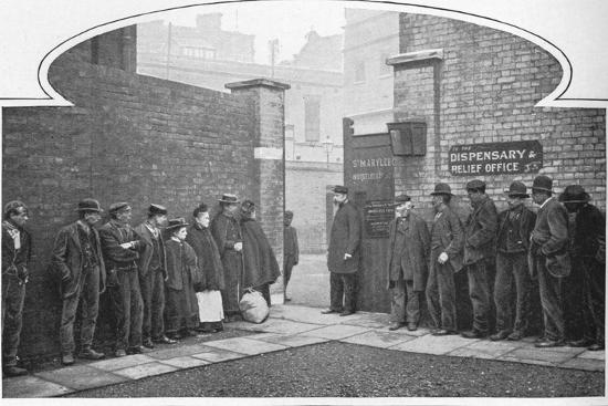 Waiting for admission to St Marylebone Workhouse, Luxborough Street, London, c1901-Unknown-Photographic Print