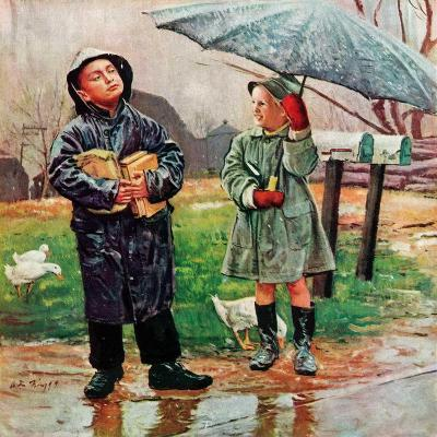 """Waiting for Bus in Rain,""April 1, 1948-Austin Briggs-Giclee Print"