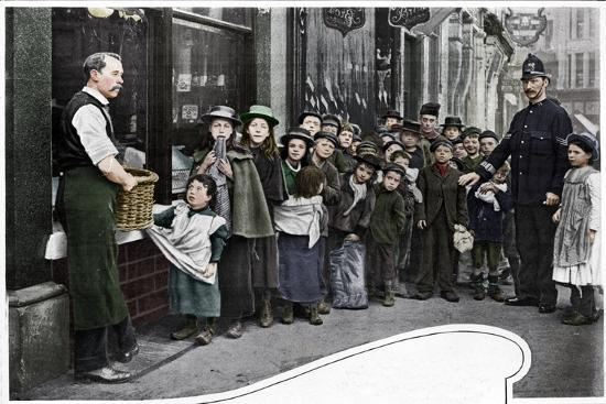 Waiting for parcels of food, Cheapside, c1903 (1903)-Unknown-Photographic Print