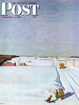 """""""Waiting for School Bus in Snow,"""" Saturday Evening Post Cover, February 1, 1947-John Falter-Giclee Print"""