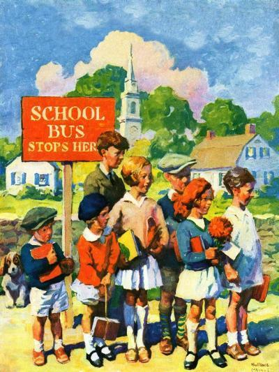 """Waiting for School Bus,""September 1, 1929-William Meade Prince-Giclee Print"