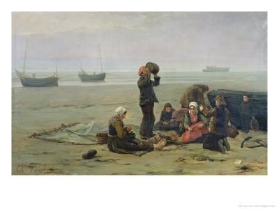 Waiting For the Fish, Berck-Sur-Mer-Charles Emmanuel Joseph Roussel-Giclee Print