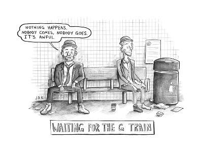 Waiting for the G Train -- Parody of Waiting for Godot. - New Yorker Cartoon--Premium Giclee Print
