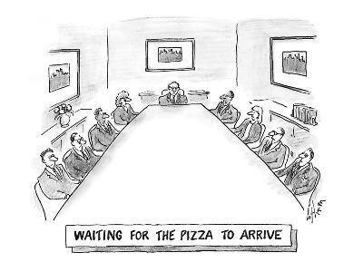 Waiting for the pizza to arrive' - Cartoon-Frank Cotham-Premium Giclee Print