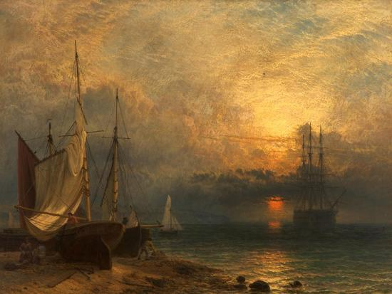 Waiting for the Tide, Sunset, 1866-Henry Dawson-Giclee Print