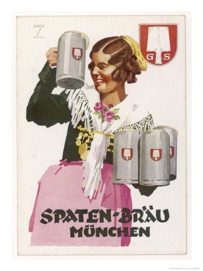 Waitress Brings Four Seidels of Frothy Spaten-Brau-Ludwig Hohlwein-Giclee Print