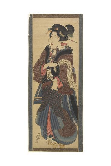 Waitress Holding a Black Lacquer Stand, Early 19th Century-Keisai Eisen-Giclee Print