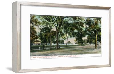 Wakefield, Massachusetts - View of Lake Quannapowitt and Lakeside-Lantern Press-Framed Art Print
