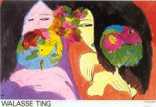 Girl with Parrots-Walasse Ting-Art Print