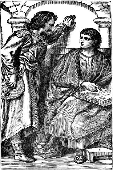 Waldenses Missionary and Troubador Showing His Vernacular Bible, C1170--Giclee Print