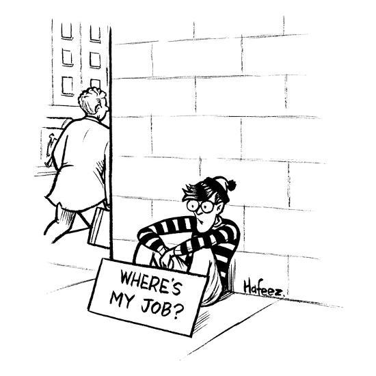 "Waldo from ""Where's Waldo?"" sits on the street corner with a sign that say? - New Yorker Cartoon-Kaamran Hafeez-Premium Giclee Print"