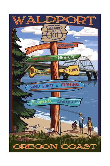 Waldport, Oregon - Sign Destinations #2-Lantern Press-Art Print