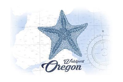 Waldport, Oregon - Starfish - Blue - Coastal Icon-Lantern Press-Art Print